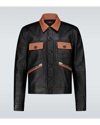 Amiri Contrasted Leather Trucker Jacket - Black