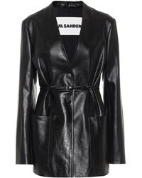 Jil Sander Belted Leather Blazer - Black