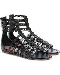 Alaïa Laser-cut Leather Sandals - Black