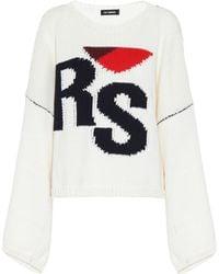 Raf Simons Pullover aus Wolle mit Intarsie - Weiß