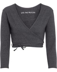 Live The Process Cropped Cardigan Zen - Grau