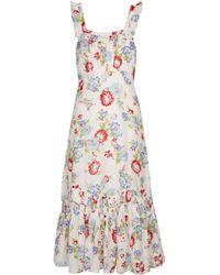 LoveShackFancy Weslan Floral Cotton And Silk Midi Dress - Multicolour