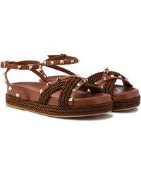 Valentino Garavani Rockstud Torchon Sandals - Brown