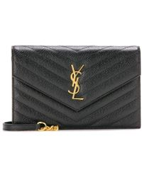Saint Laurent Clutch portafogli Monogram Envelope in pelle - Nero