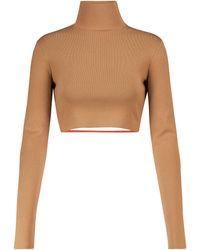 Zeynep Arcay Cropped Mockneck Knit Top - Brown