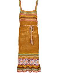 Anna Kosturova Abito midi Lila in cotone crochet - Multicolore