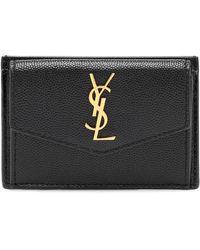 Saint Laurent Uptown Leather Card Case - Black