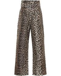 Ganni Pantalon paper bag à motif léopard - Marron