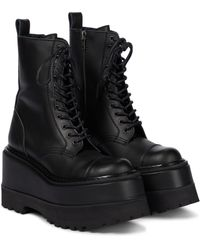 Junya Watanabe Platform Leather Combat Boots - Black