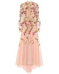 Costarellos Besticke Robe aus Tüll - Pink