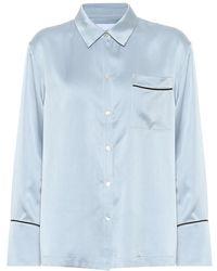 Asceno - Blusa pigiama in raso di seta - Lyst