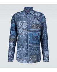 Ralph Lauren Purple Label Philip Paisley Long-sleeved Shirt - Blue