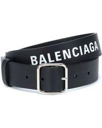 Balenciaga Logo Leather Belt - Black