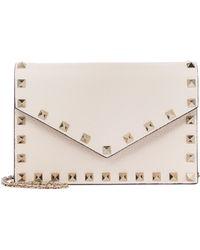 Valentino Garavani Rockstud Small Leather Clutch - White