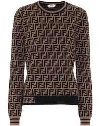 Fendi Ff Jacquard Sweater - Brown