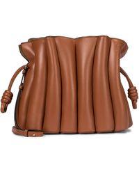 Loewe Flamenco Ondas Leather Clutch - Brown