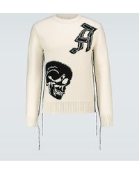 Alexander McQueen Wool Jacquard Patched Skull Sweater - Multicolor