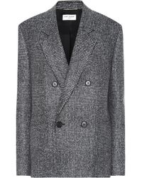 Saint Laurent Checked Wool-blend Blazer - Grey