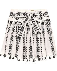 Dodo Bar Or Cotton Jacquard & Lace Skirt W/ Tassels - White
