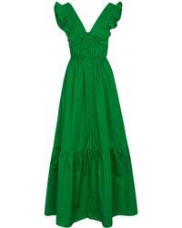 Self-Portrait Cotton Maxi Dress - Green