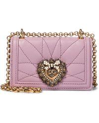 Dolce & Gabbana Schultertasche Devotion Micro aus Leder - Pink