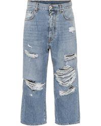 Unravel Project Jeans rectos cropped de tiro alto - Azul