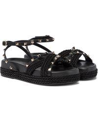 Valentino Garavani Rockstud Torchon Sandals - Black