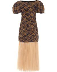 Khaite Vestido Shelly de cuadros - Marrón