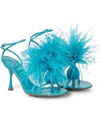 Bottega Veneta Sandalias Dot de piel con plumas - Azul