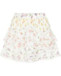 LoveShackFancy Minifalda Abrielle floral - Blanco