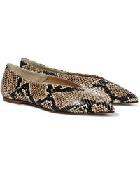 Aeyde Moa Snake-effect Leather Ballet Flats - Brown