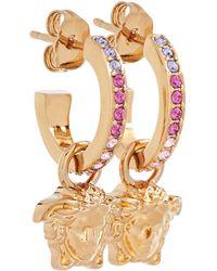 Versace Boucles d'oreilles La Medusa à cristaux - Métallisé