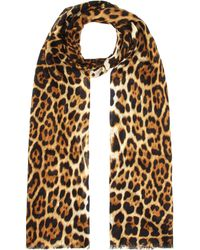 Saint Laurent Leopard Print Silk Scarf - Multicolour
