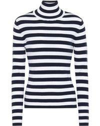 Tory Sport Striped Wool Turtleneck Jumper - Blue