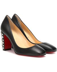 Christian Louboutin Donna Stud Spikes 85 Leather Court Shoes - Black