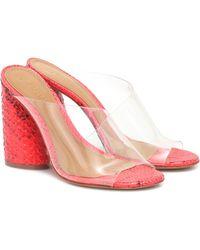 MERCEDES CASTILLO Kuri Snake-effect Leather Sandals - Pink