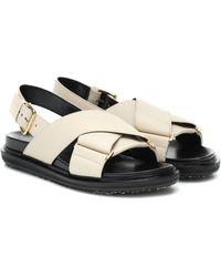 Marni Beige And Black Fussbett Sandals