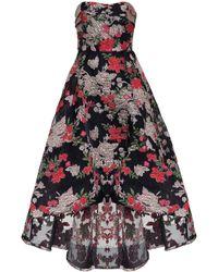 Marchesa notte Floral Fil-coupé Strapless Gown - Black