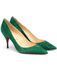 Christian Louboutin Clare 80 Suede Court Shoes - Green