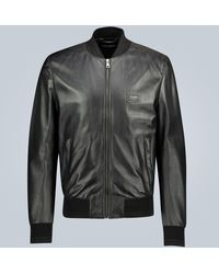 Dolce & Gabbana Leather Jacket With Branded Plate - Black