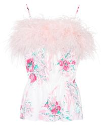 Prada - Exclusive To Mytheresa. Com – Feather-trimmed Silk Top - Lyst