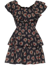 RHODE Dotty Printed Cotton Minidress - Black