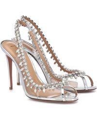 Aquazzura Temptation 105 Embellished Pvc Sandals - Metallic