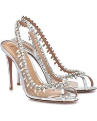 Aquazzura Temptation 105 Embellished Sandals - Metallic