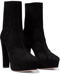 Aquazzura Saint Honore 120 Suede Platform Ankle Boots - Black