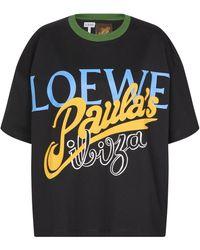Loewe Paula's Ibiza - T-shirt in cotone con logo - Nero