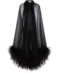 Saint Laurent Capa de chifón de seda con plumas - Negro