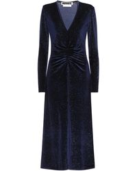 ROTATE BIRGER CHRISTENSEN Stretch-velvet Midi Dress - Blue