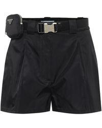 Prada Belted High-rise Nylon Shorts - Black