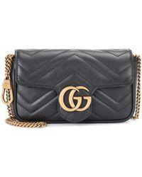 Lyst - Sac à bandoulière en cuir matelassé GG Marmont Mini Gucci en ... 938c2e09fe0